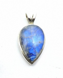Large Pearshape Rainbow Moonstone Pendant Silver 'One-Off'